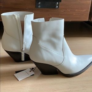 Zara White Leather Cowboy Ankle Boots
